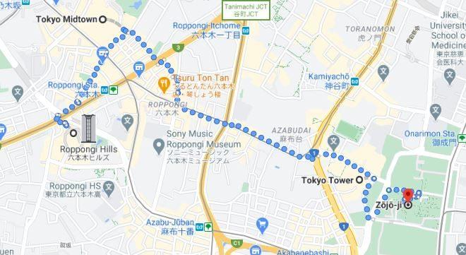 Roppongi, itinerario